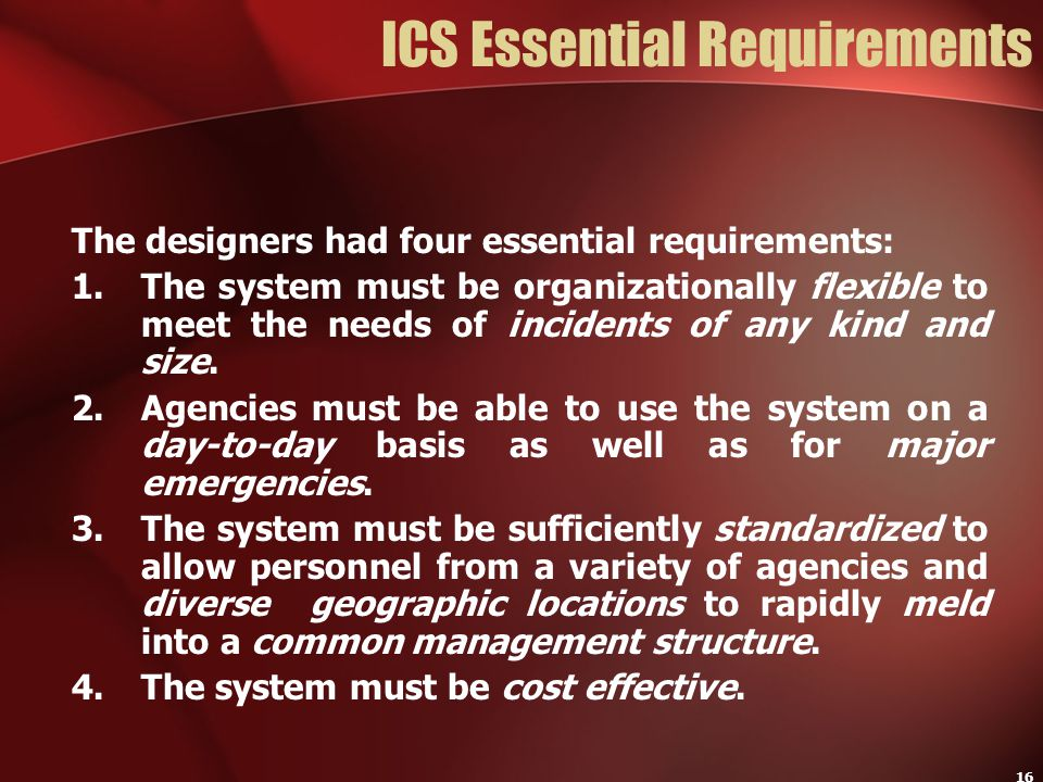 ICS Essential Requirements