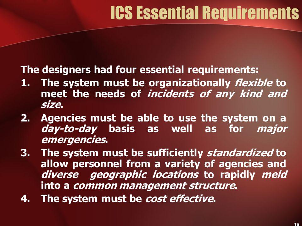 ICS Essential Requirements