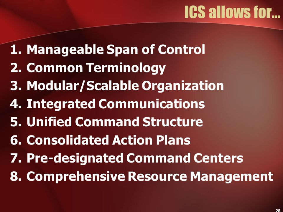 ICS allows for… Manageable Span of Control Common Terminology