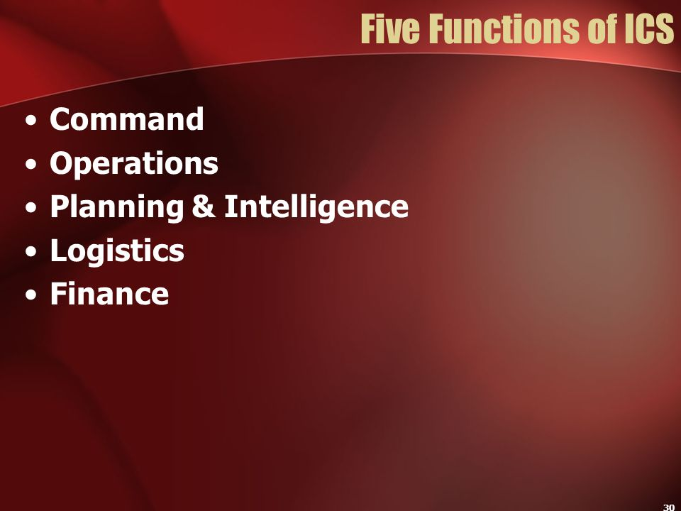 Five Functions of ICS Command Operations Planning & Intelligence