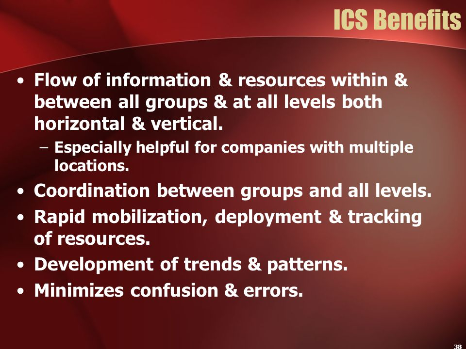 ICS Benefits Flow of information & resources within & between all groups & at all levels both horizontal & vertical.