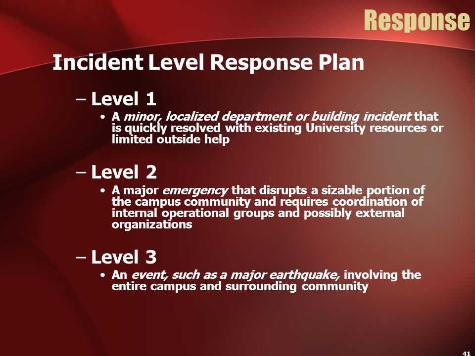 Response Incident Level Response Plan Level 1 Level 2 Level 3