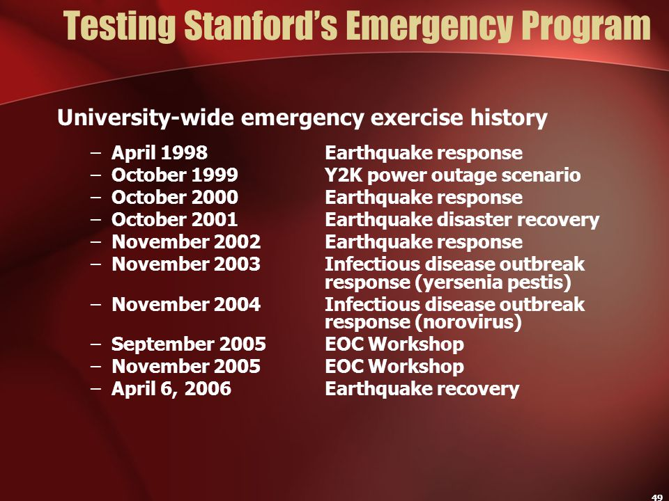 Testing Stanford's Emergency Program