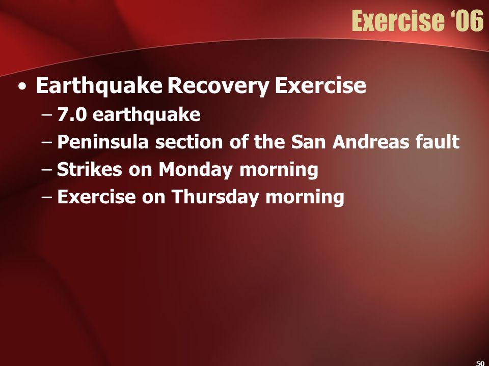 Exercise '06 Earthquake Recovery Exercise 7.0 earthquake