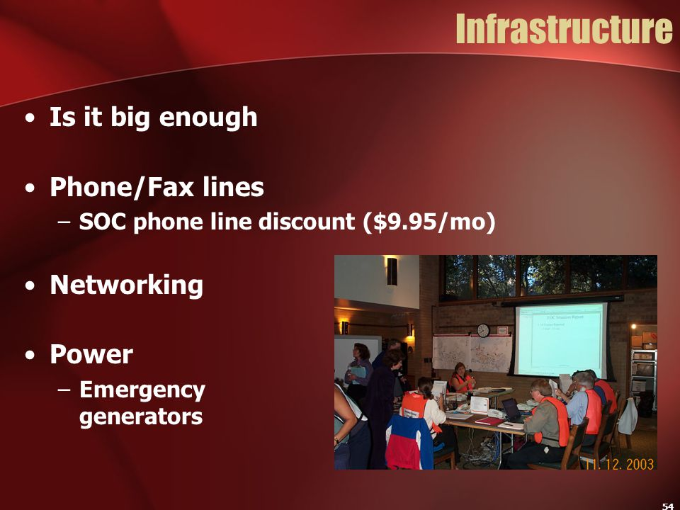 Infrastructure Is it big enough Phone/Fax lines Networking Power