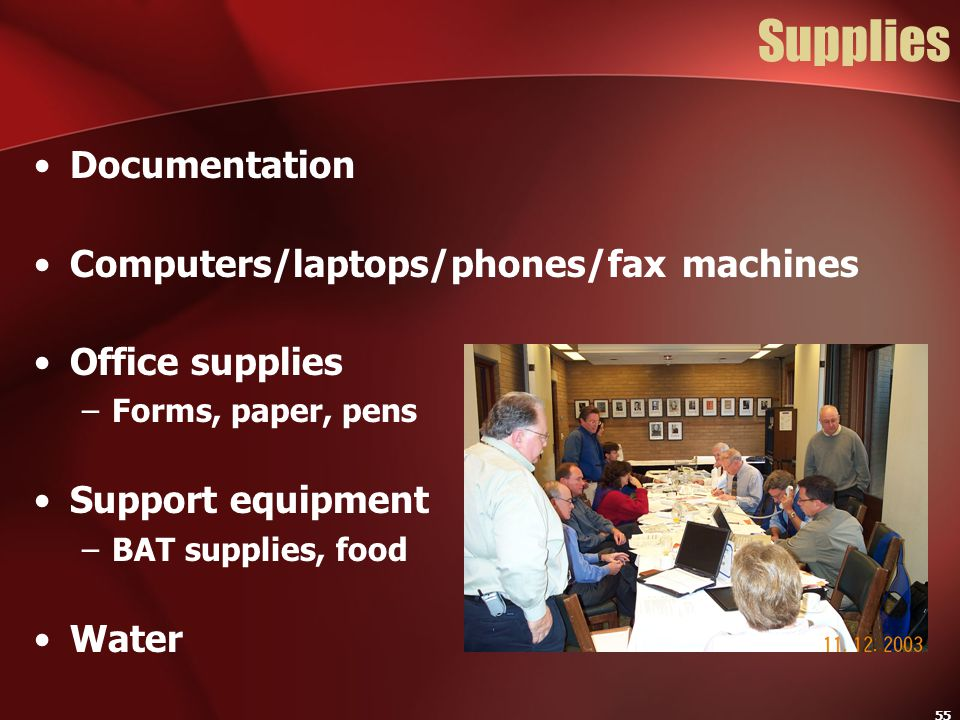 Supplies Documentation Computers/laptops/phones/fax machines