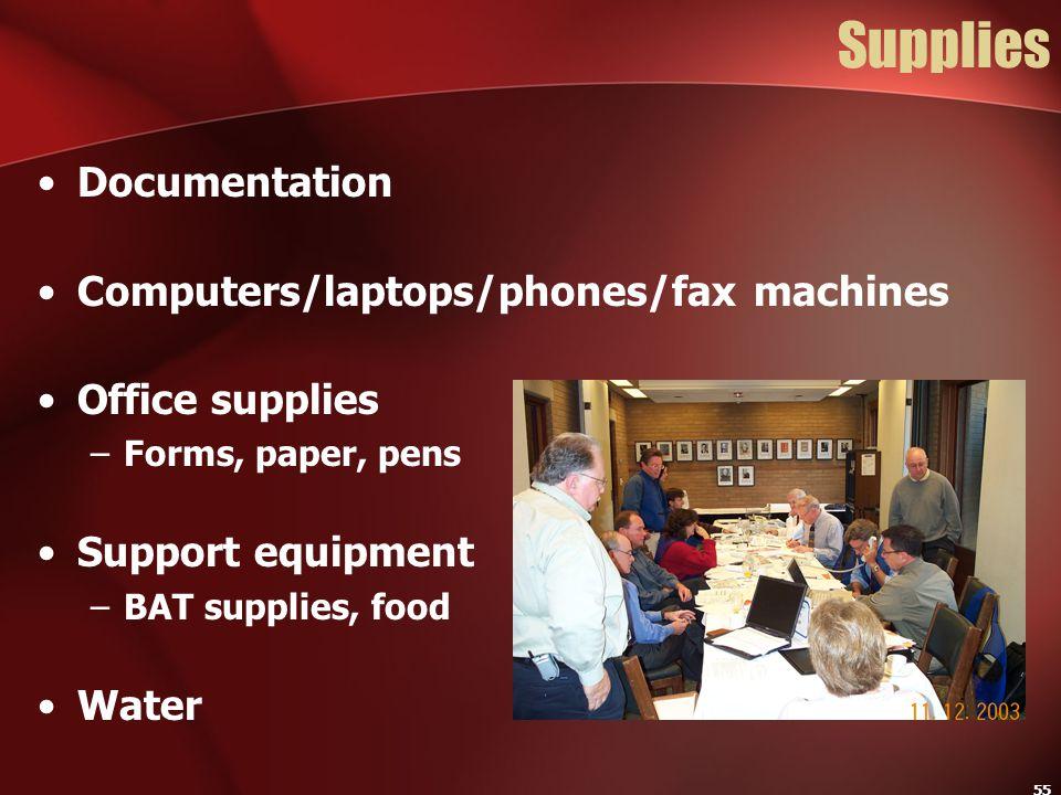 Supplies Documentation Computers/laptops/phones/fax machines