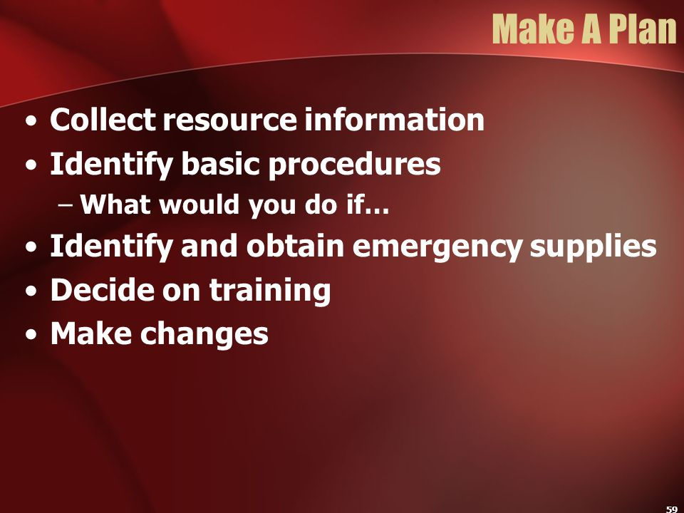 Make A Plan Collect resource information Identify basic procedures