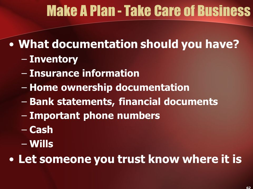 Make A Plan - Take Care of Business