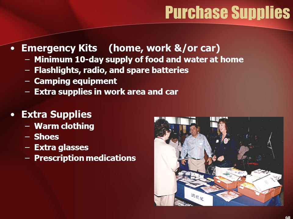Purchase Supplies Emergency Kits (home, work &/or car) Extra Supplies