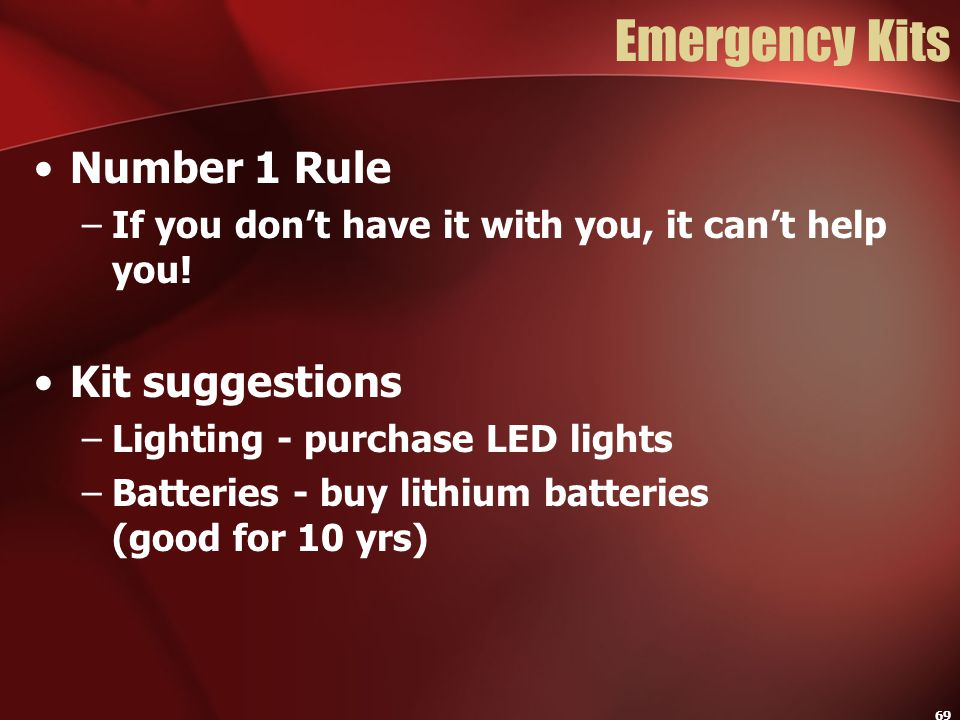 Emergency Kits Number 1 Rule Kit suggestions