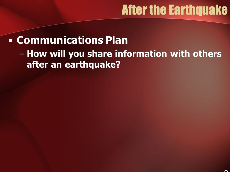 After the Earthquake Communications Plan