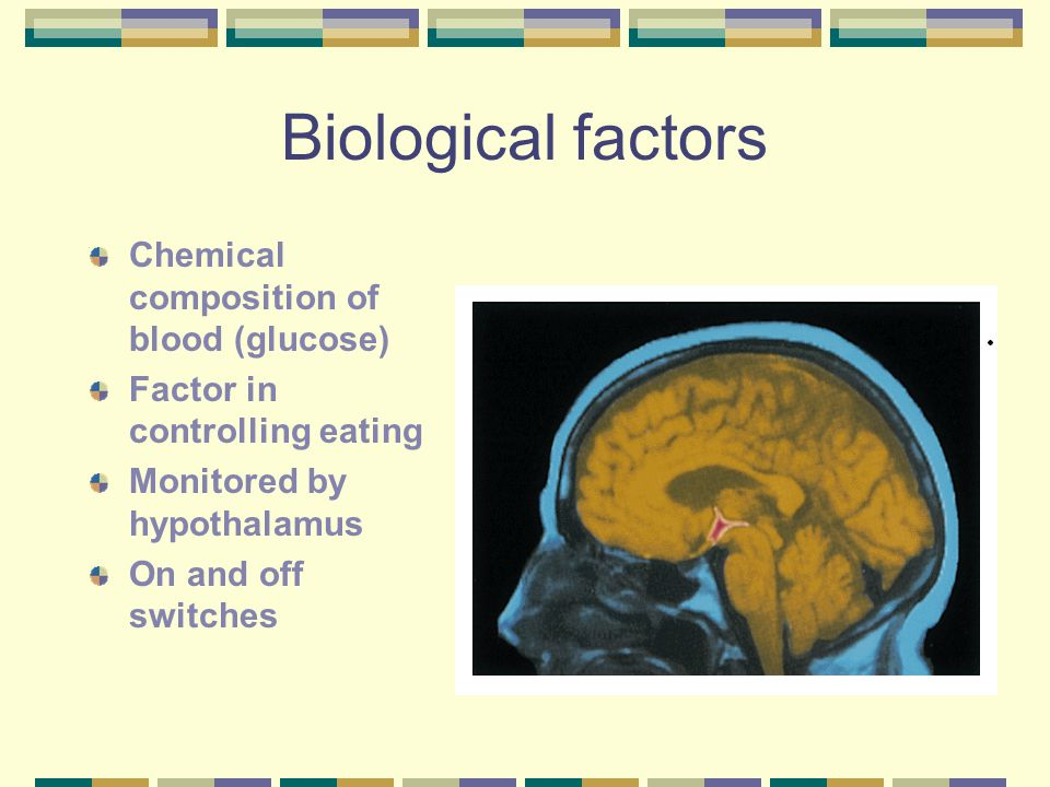 Biological factors Chemical composition of blood (glucose)