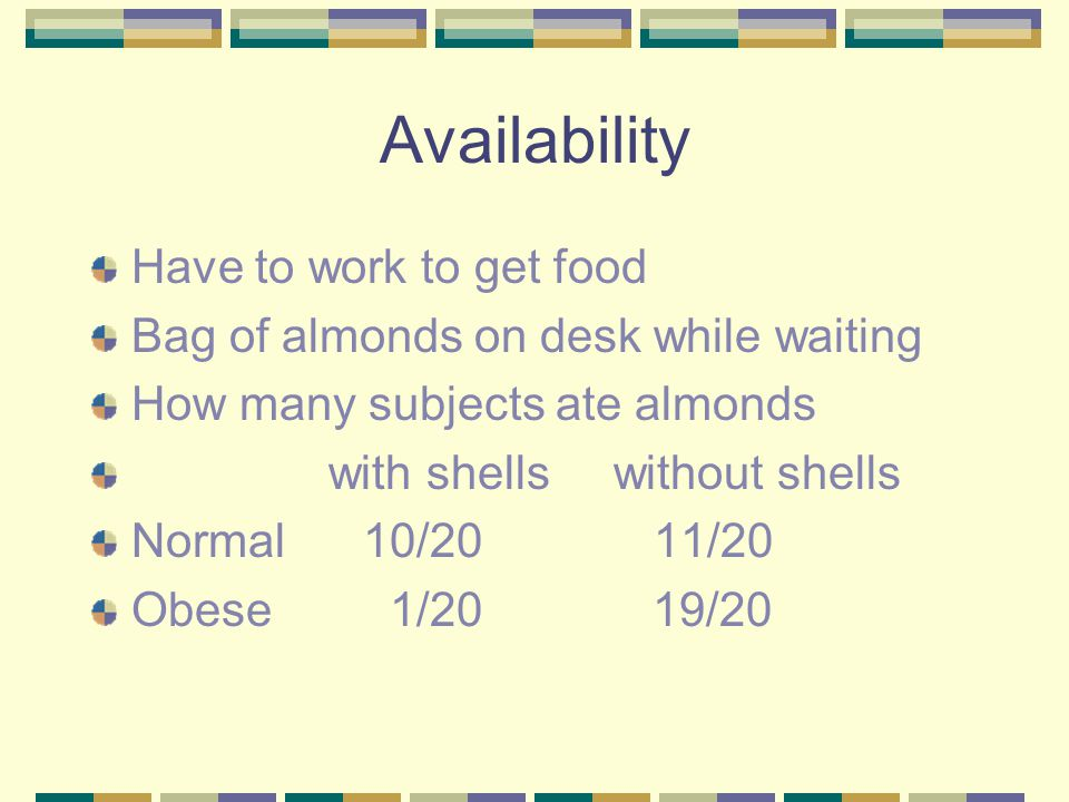 Availability Have to work to get food
