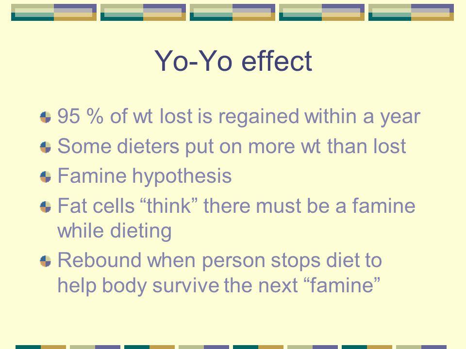 Yo-Yo effect 95 % of wt lost is regained within a year