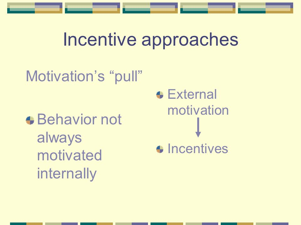 Incentive approaches Motivation's pull