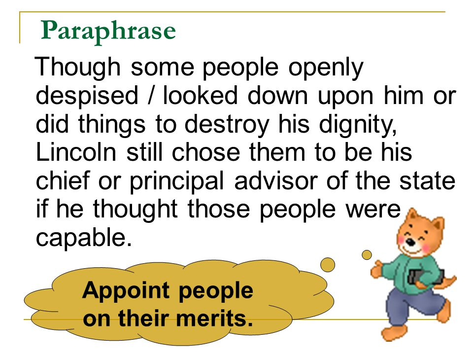 Appoint people on their merits.