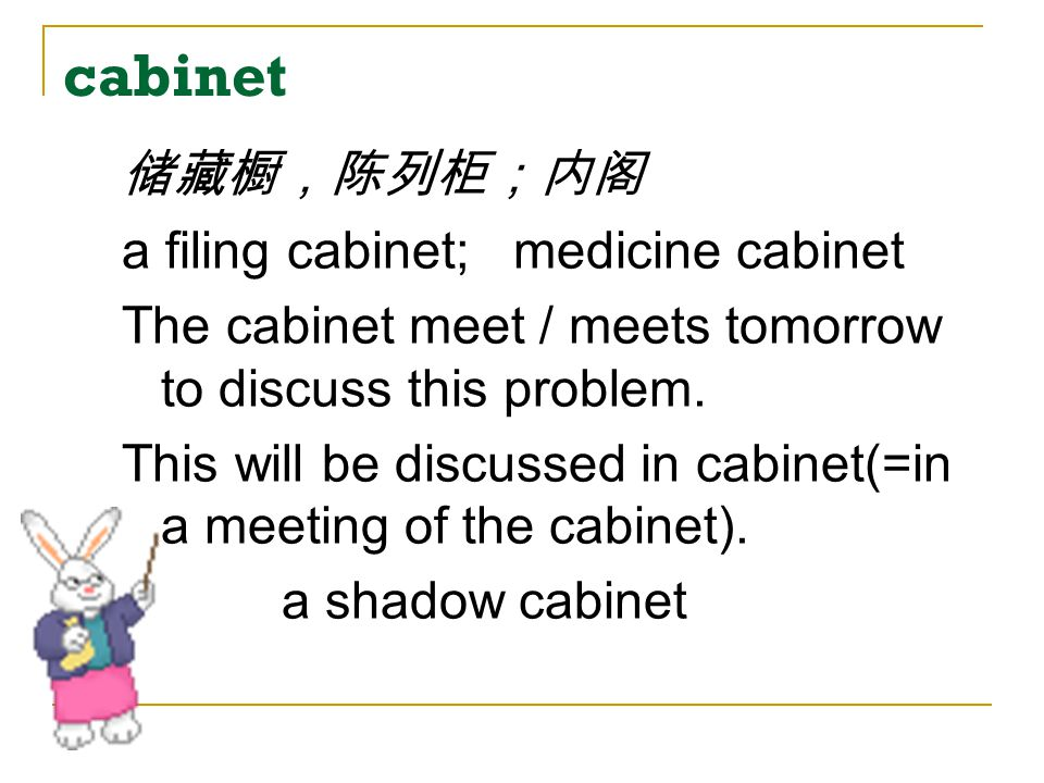 cabinet 储藏橱,陈列柜;内阁 a filing cabinet; medicine cabinet