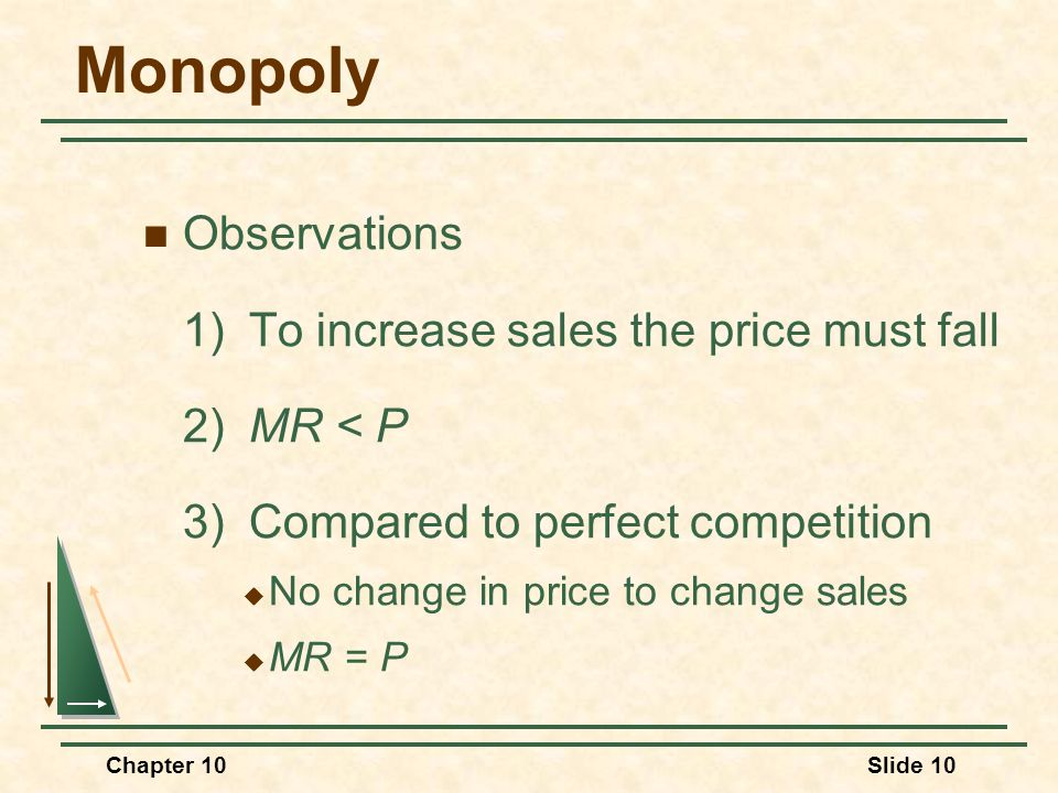 Monopoly Observations 1) To increase sales the price must fall