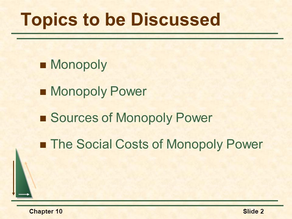 Topics to be Discussed Monopoly Monopoly Power