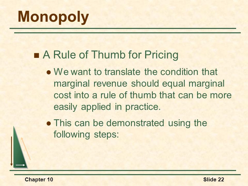 Monopoly A Rule of Thumb for Pricing