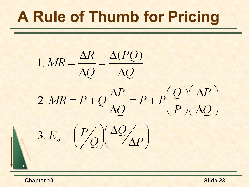 A Rule of Thumb for Pricing