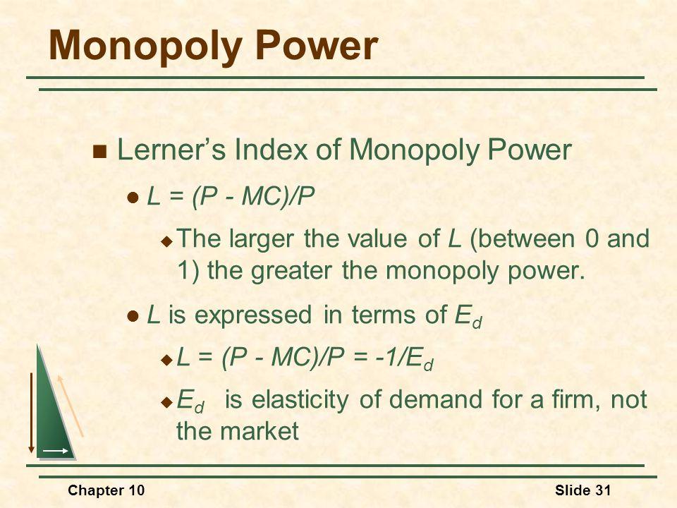Monopoly Power Lerner's Index of Monopoly Power L = (P - MC)/P