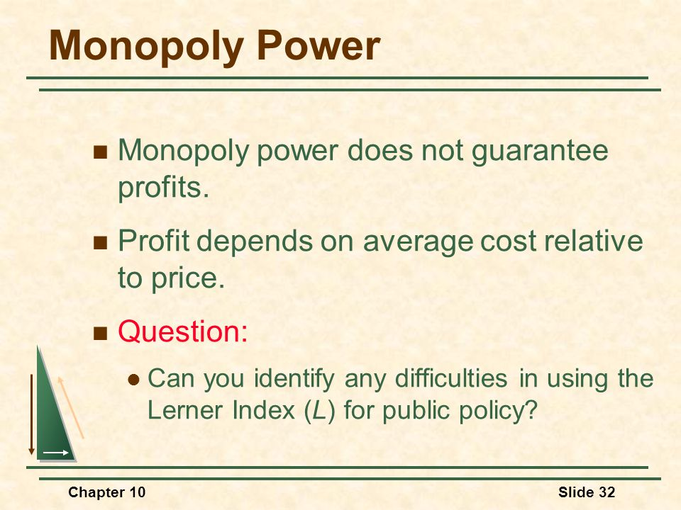 Monopoly Power Monopoly power does not guarantee profits.