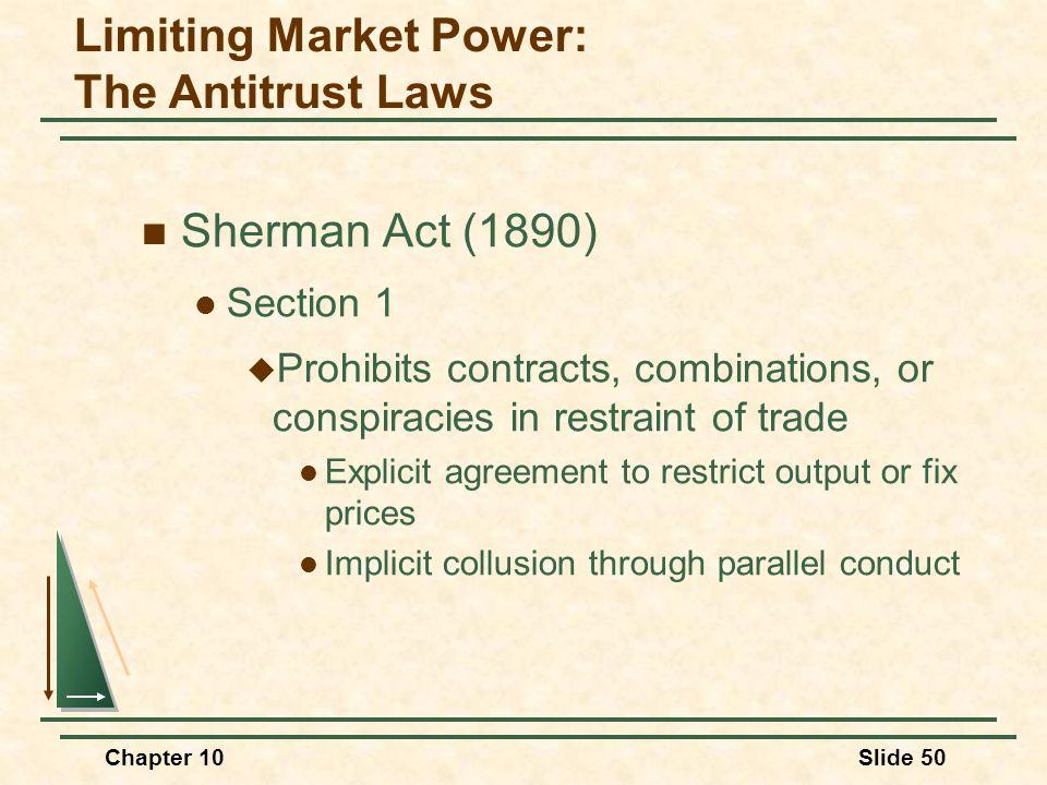 Limiting Market Power: The Antitrust Laws