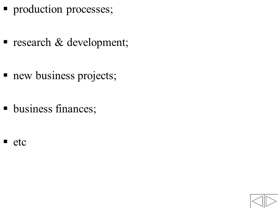 production processes;