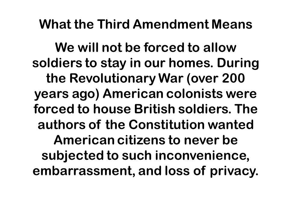 What the Third Amendment Means