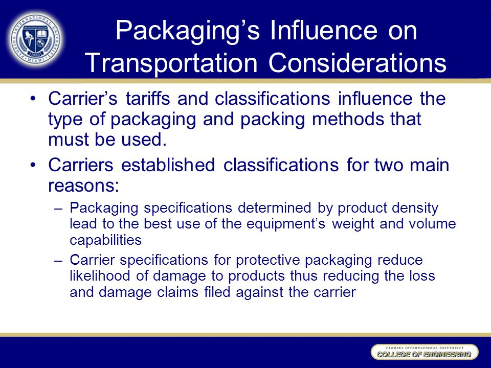 Packaging's Influence on Transportation Considerations