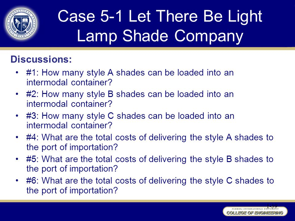 Case 5-1 Let There Be Light Lamp Shade Company
