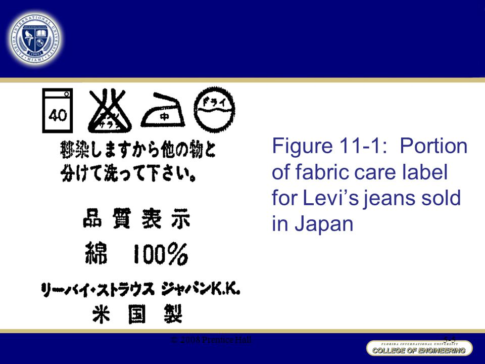 Figure 11-1: Portion of fabric care label for Levi's jeans sold in Japan