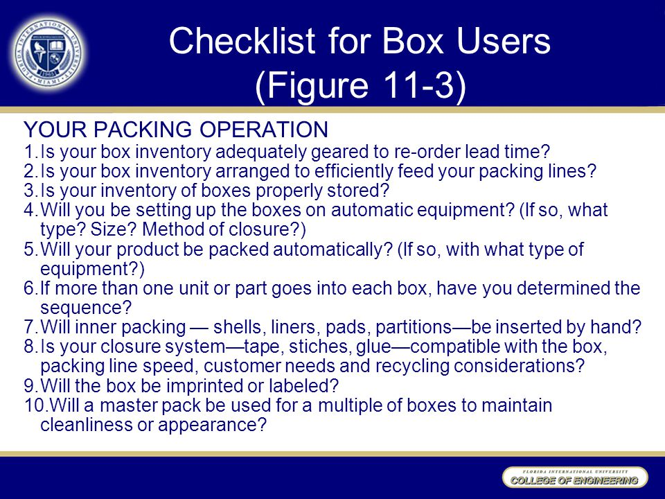 Checklist for Box Users (Figure 11-3)