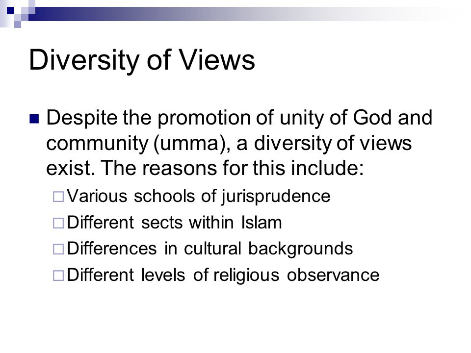 Diversity of Views Despite the promotion of unity of God and community (umma), a diversity of views exist. The reasons for this include:
