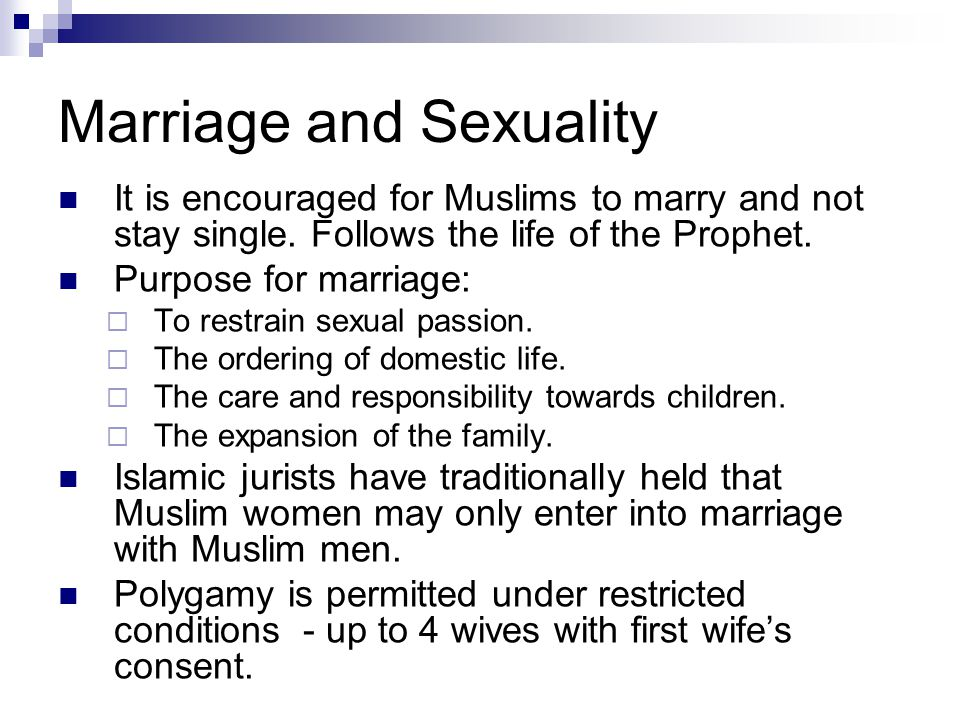 Marriage and Sexuality