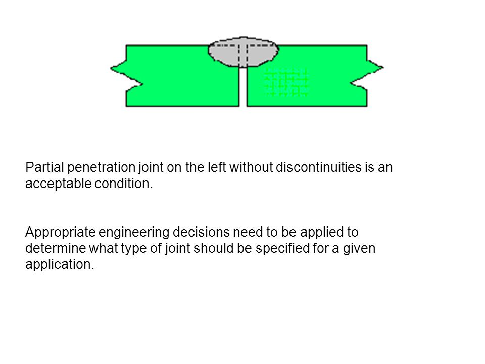Partial penetration joint on the left without discontinuities is an acceptable condition.