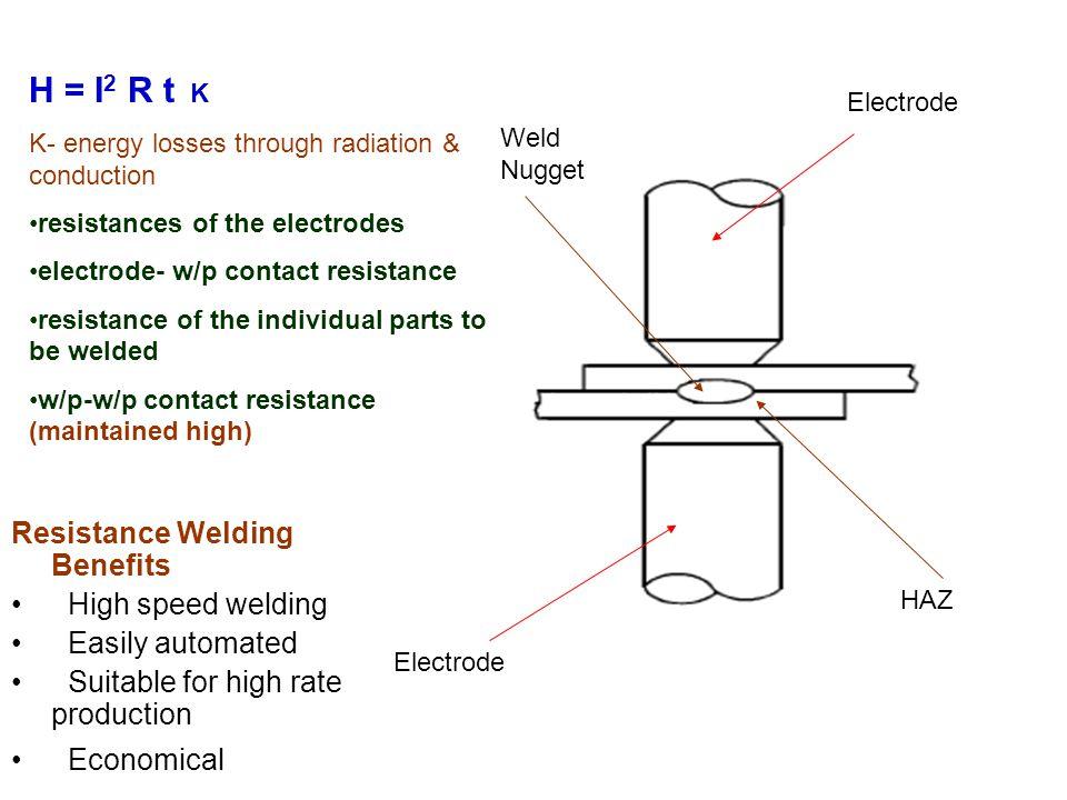 H = I2 R t K Resistance Welding Benefits High speed welding