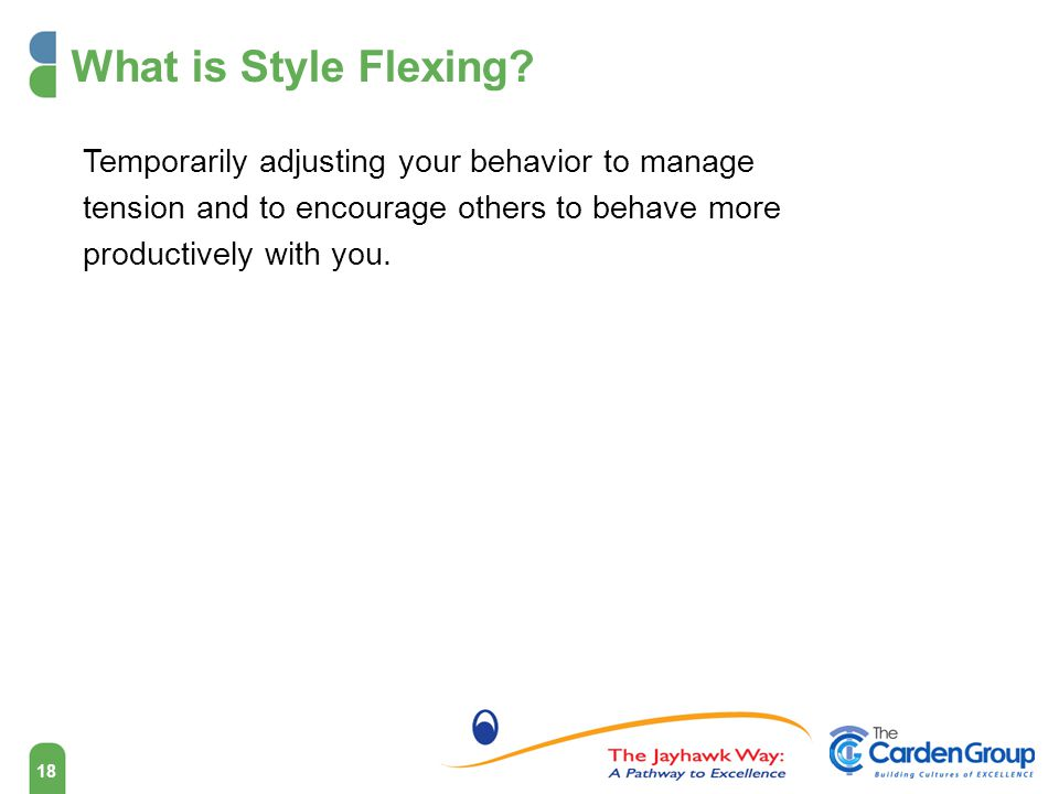 What is Style Flexing Temporarily adjusting your behavior to manage tension and to encourage others to behave more productively with you.