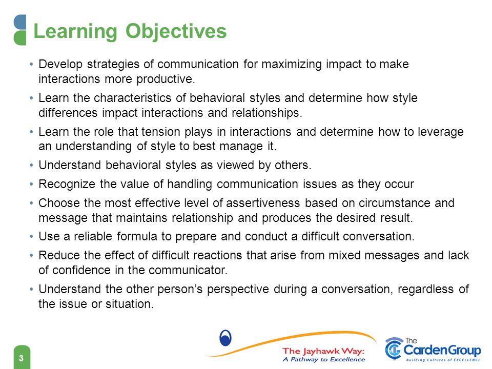 Learning Objectives Develop strategies of communication for maximizing impact to make interactions more productive.