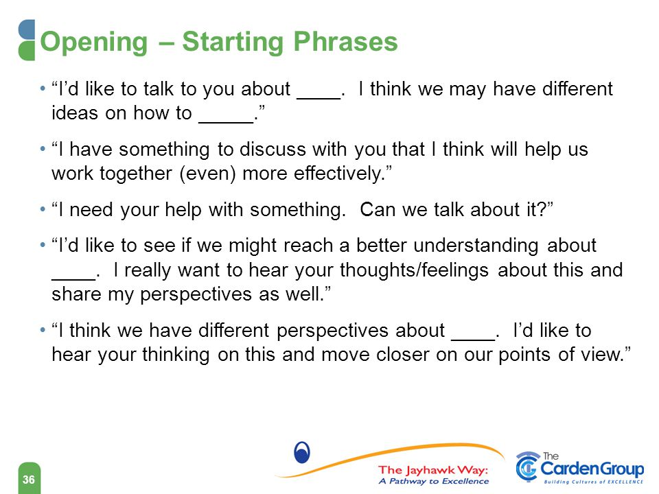Opening – Starting Phrases