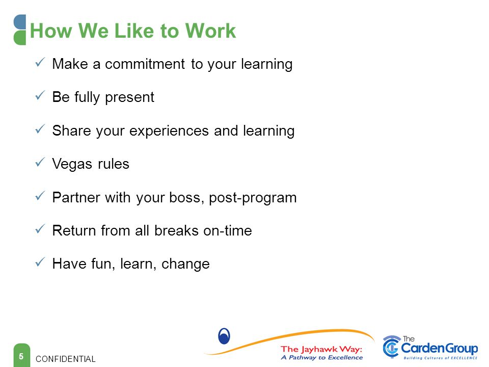 How We Like to Work Make a commitment to your learning