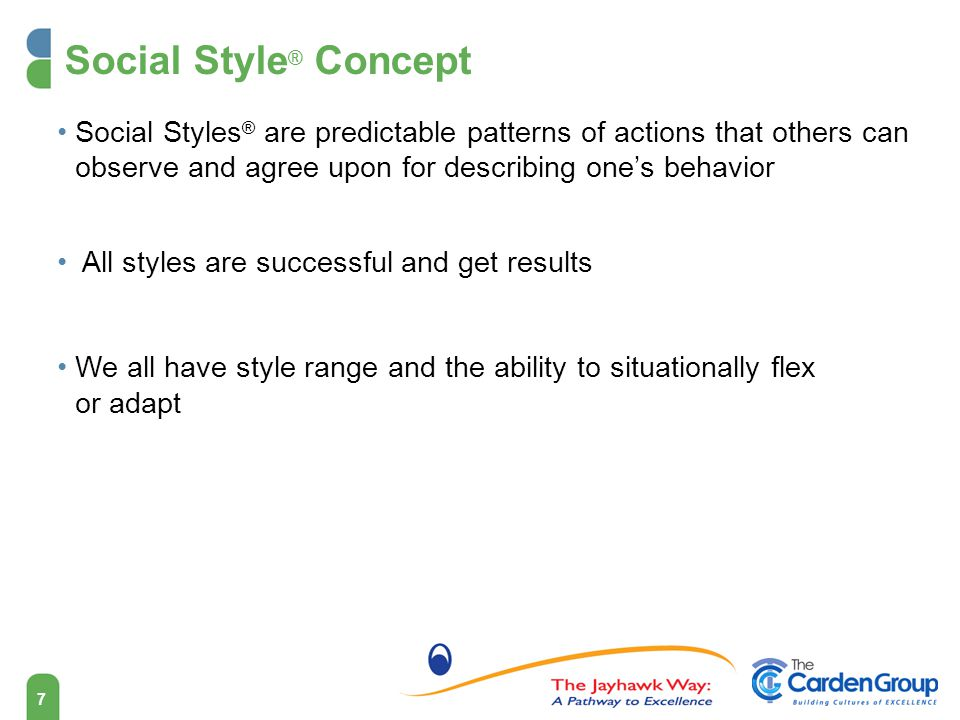 Social Style® Concept Social Styles® are predictable patterns of actions that others can observe and agree upon for describing one's behavior.