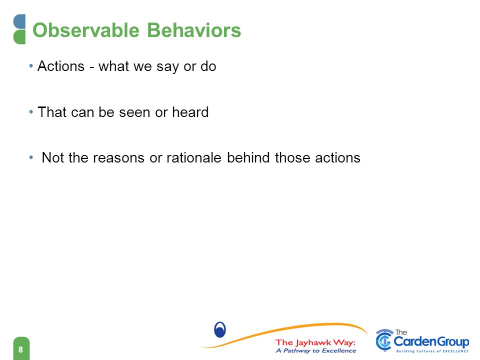 Observable Behaviors Actions - what we say or do