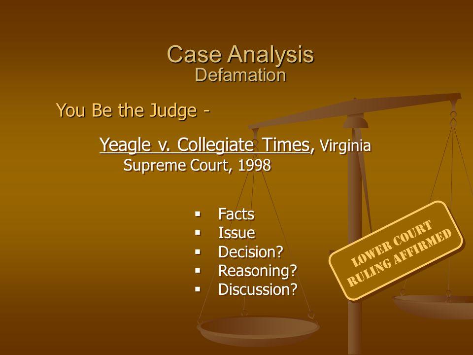 Case Analysis Defamation