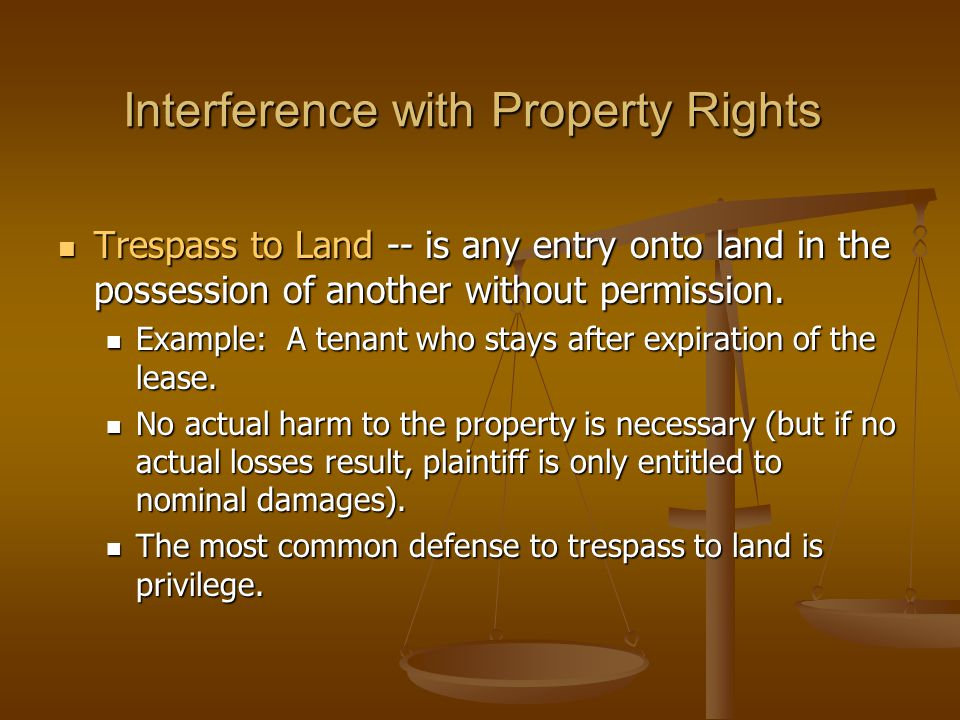 Interference with Property Rights
