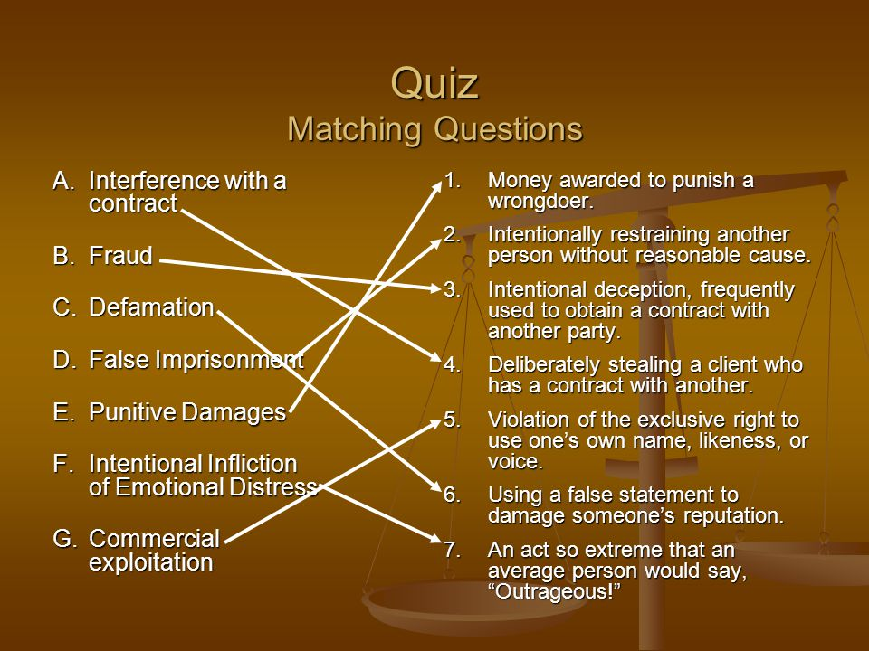 Quiz Matching Questions