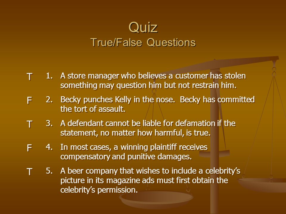 Quiz True/False Questions