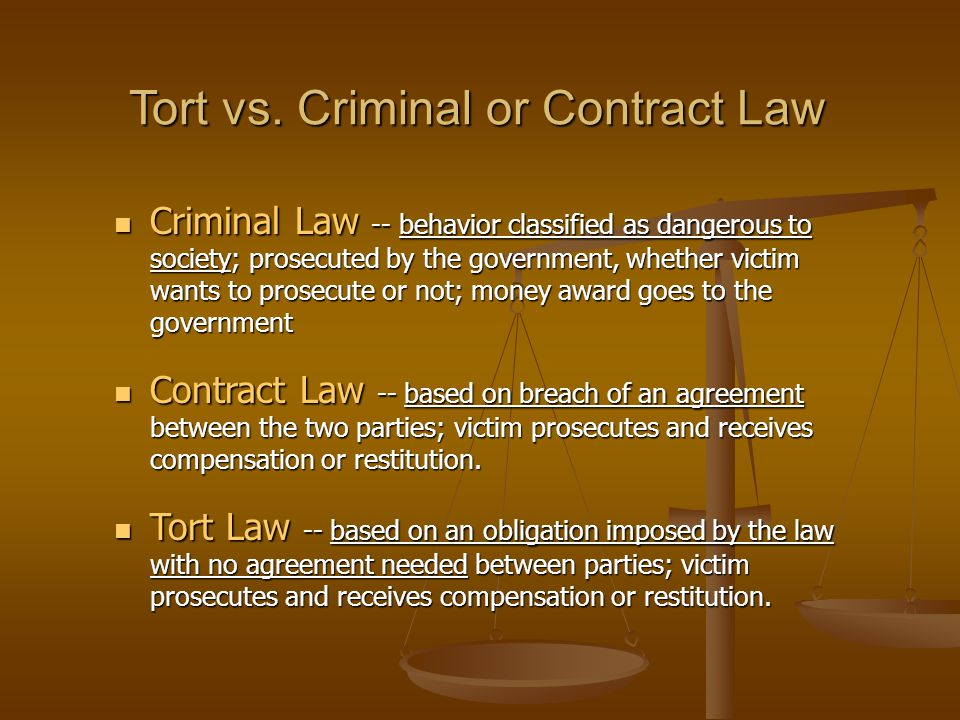 Tort vs. Criminal or Contract Law